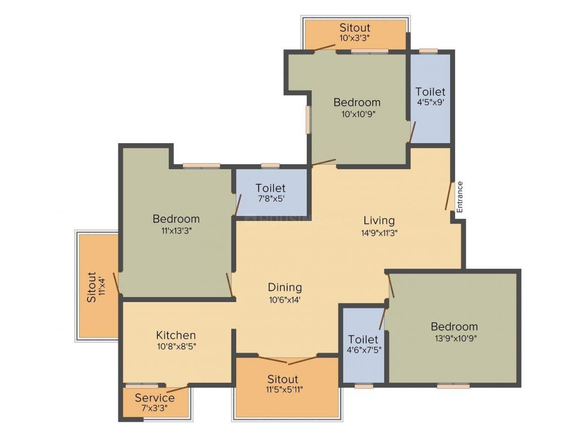 Floor Plan Image of 1197.0 - 1520.0 Sq.ft 2.5 BHK Apartment for buy in Kirthika Aavas