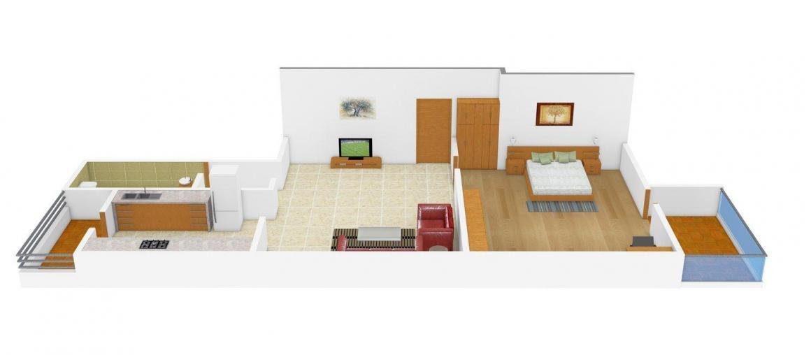 Floor Plan Image of 990.0 - 1140.0 Sq.ft 1 BHK Apartment for buy in Niketan Pride