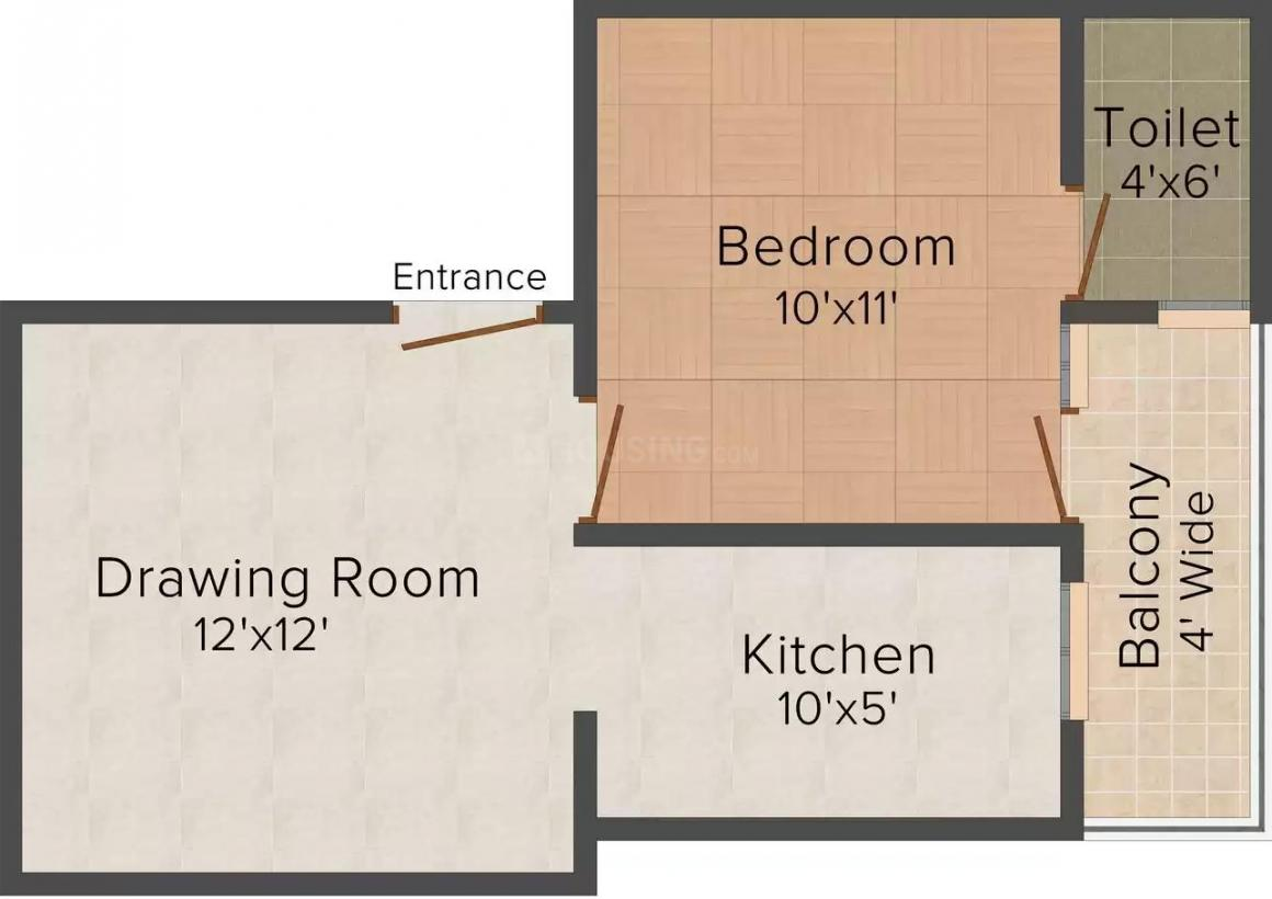 Arrow Pine Residency Floor Plan: 1 BHK Unit with Built up area of 545 sq.ft 1