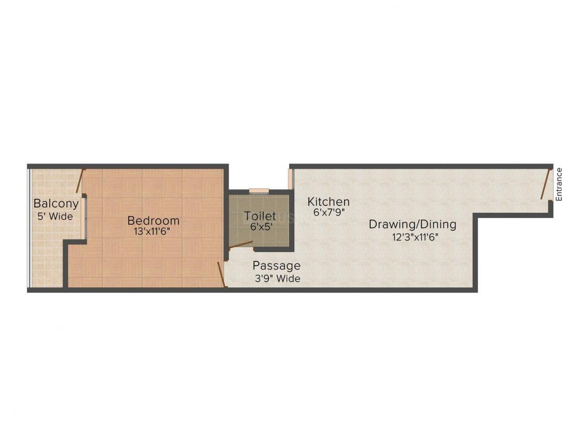 Rohan Shikhar Tower Floor Plan: 1 BHK Unit with Built up area of 605 sq.ft 1