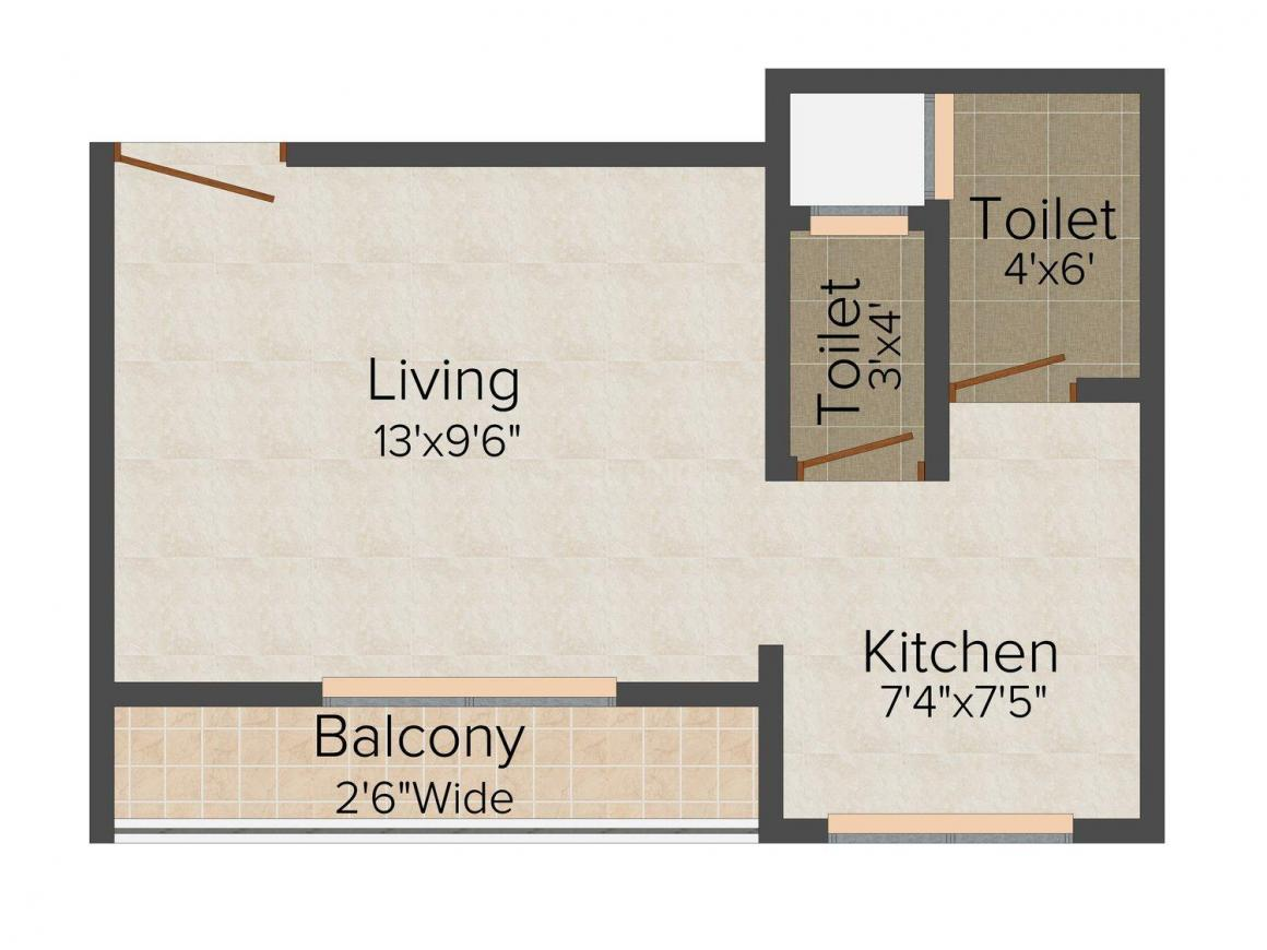 Floor Plan Image of 365 - 521 Sq.ft 1 RK Apartment for buy in Balaji Sai Arch
