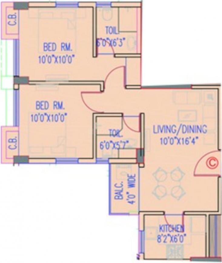 Srijan Eternia Phase 3 Floor Plan: 2 BHK Unit with Built up area of 811 sq.ft 1