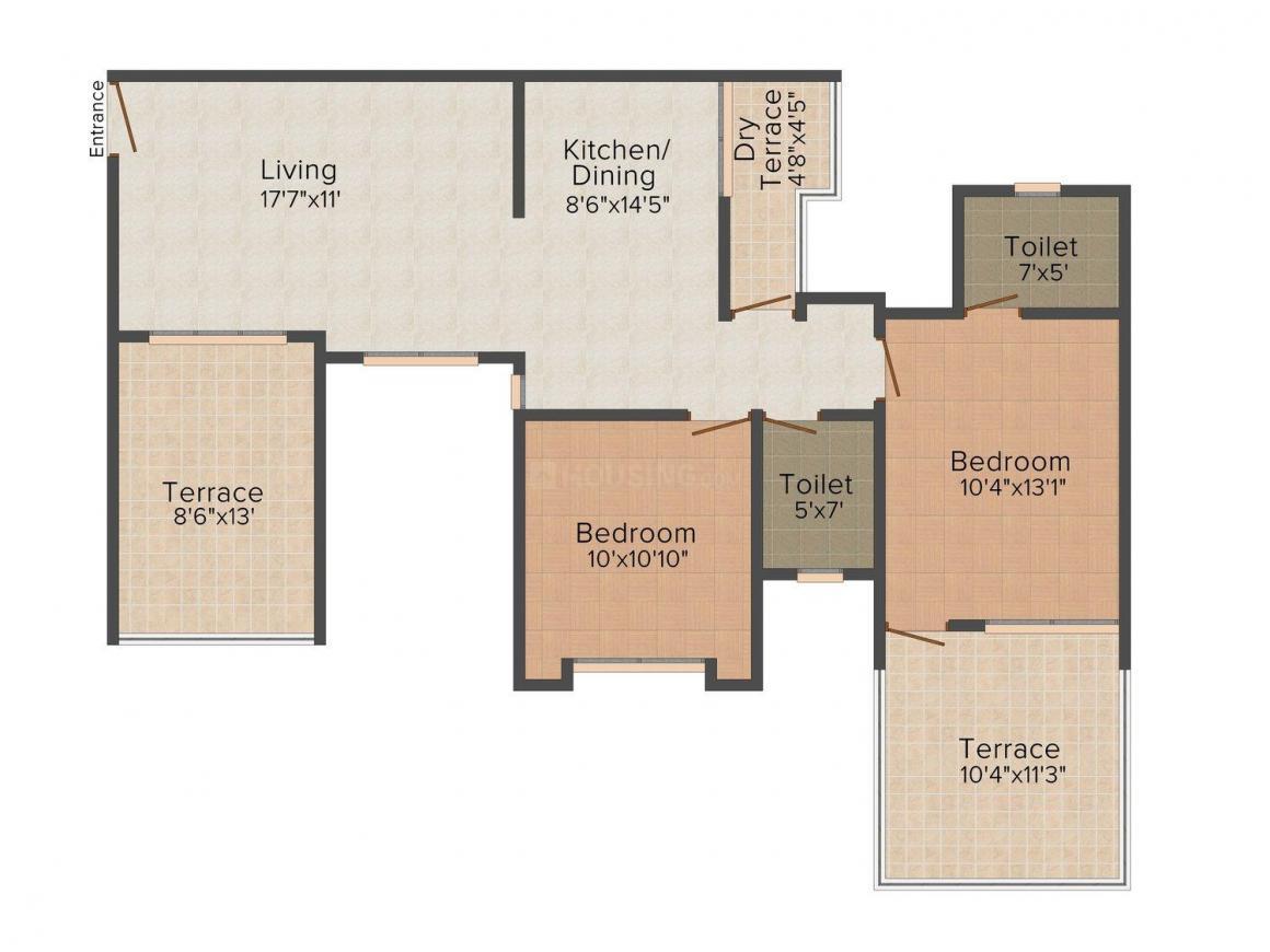 Suvan Cresta Floor Plan: 2 BHK Unit with Built up area of 1193 sq.ft 1