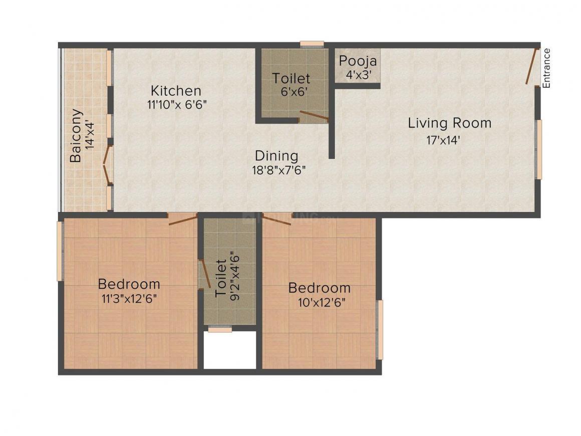 Floor Plan Image of 1210 - 1570 Sq.ft 2 BHK Apartment for buy in Carp Sai Sumukha Dollars