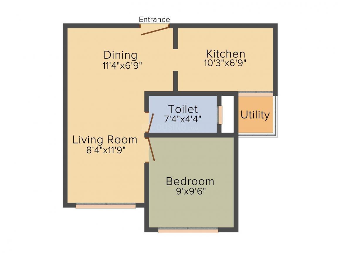 Delhi Floors Floor Plan: 1 BHK Unit with Built up area of 400 sq.ft 1
