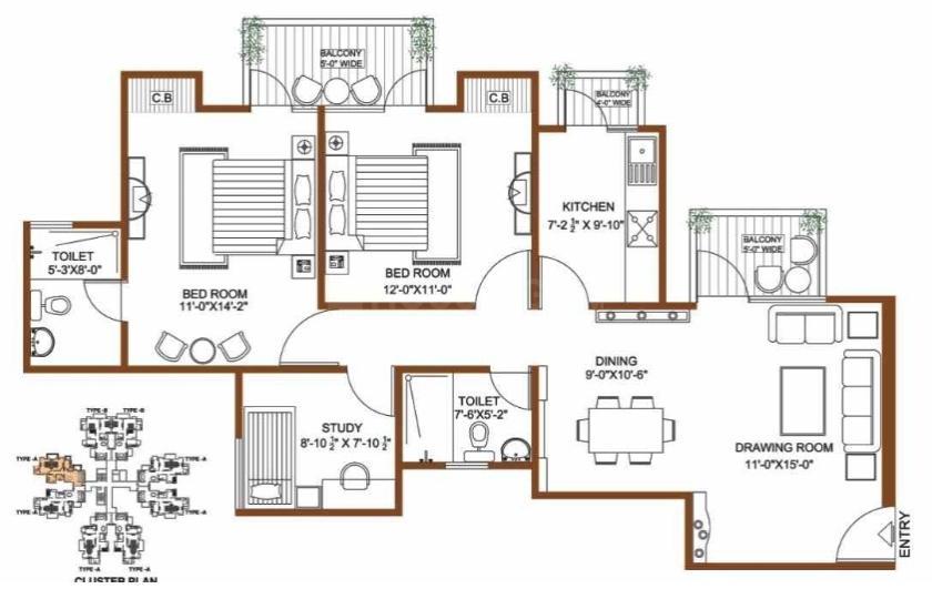 Shree Vardhman Flora  Floor Plan: 2 BHK Unit with Built up area of 1300 sq.ft 1