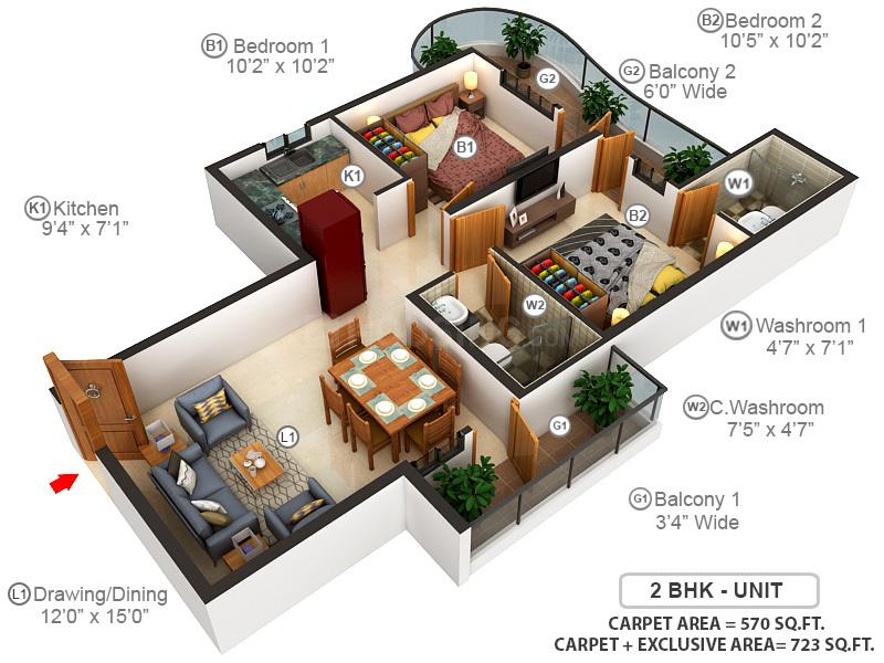 Mahira Homes Floor Plan: 2 BHK Unit with Built up area of 570 sq.ft 1
