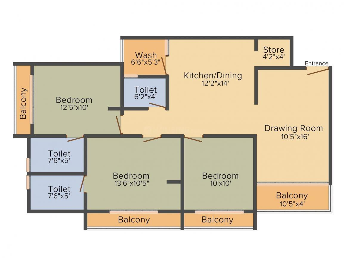 Purohit Raytirth Sopan Floor Plan: 3 BHK Unit with Built up area of 1900 sq.ft 1