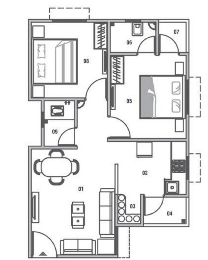 Sun Divine 5 Floor Plan: 2 BHK Unit with Built up area of 945 sq.ft 1