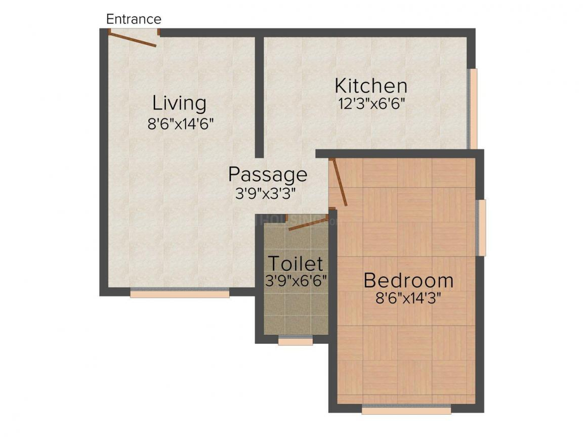 Floor Plan Image of 390.0 - 587.0 Sq.ft 1 BHK Apartment for buy in Padmavati Kripa