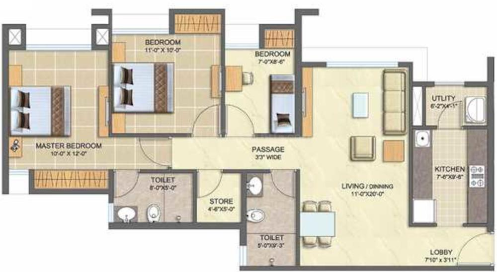 Lodha Splendora Platino B Floor Plan: 3 BHK Unit with Built up area of 805 sq.ft 1