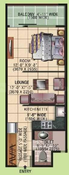 Eldeco Edge Floor Plan: 1 BHK Unit with Built up area of 577 sq.ft 2