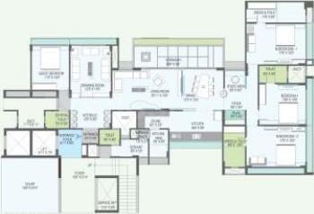 Gala Luxuria Floor Plan: 4 BHK Unit with Built up area of 3800 sq.ft 1