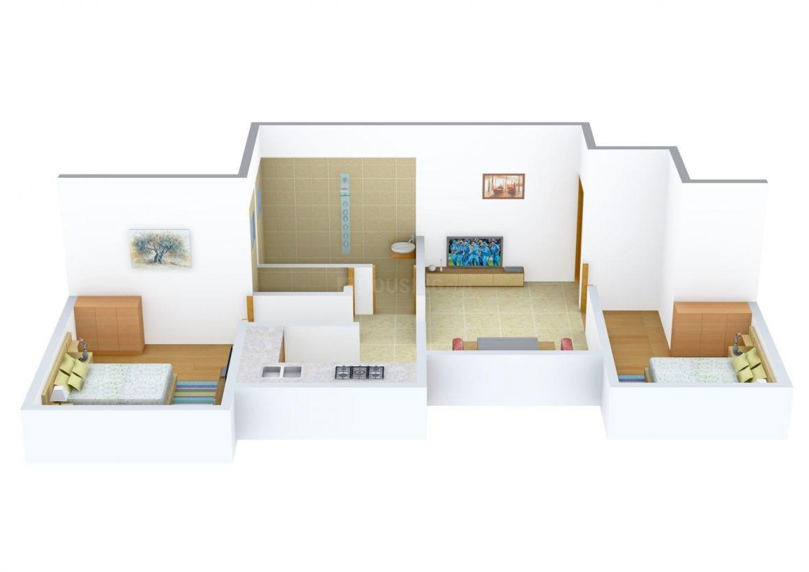 Floor Plan Image of 535.0 - 620.0 Sq.ft 1 BHK Apartment for buy in Ideal Cerejo Residency