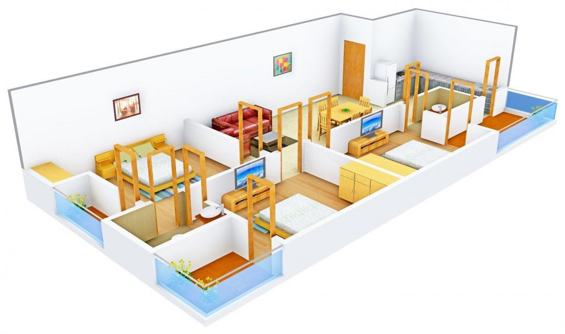 RRS Build - 7 Floor Plan: 3 BHK Unit with Built up area of 2295 sq.ft 1