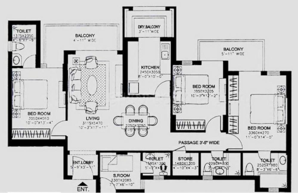 DLF Express Towers Floor Plan: 3 BHK Unit with Built up area of 1845 sq.ft 1