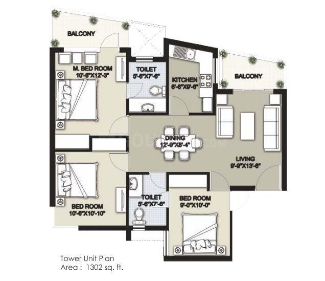 Raheja Shilas Floor Plan: 3 BHK Unit with Built up area of 1302 sq.ft 1
