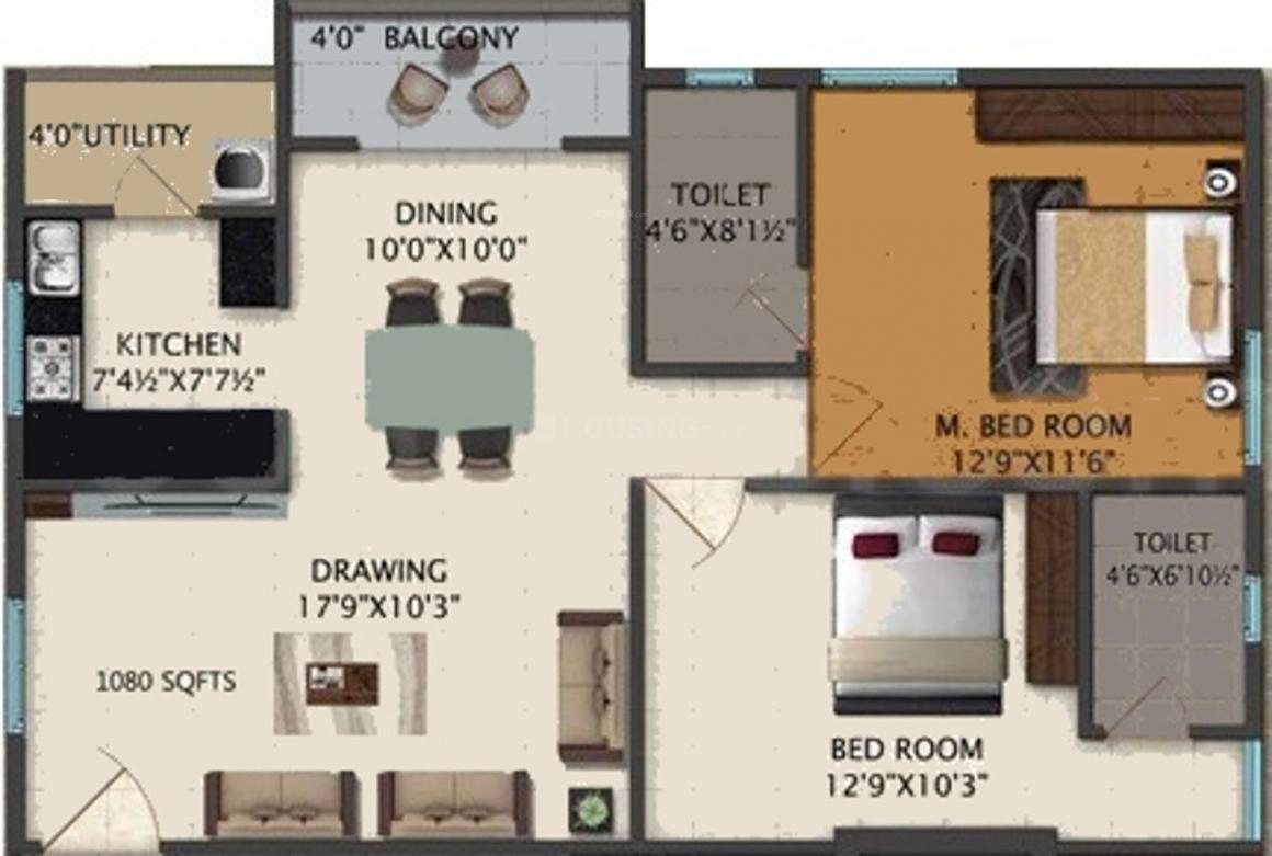 Siri Siris Bhuvi Floor Plan: 2 BHK Unit with Built up area of 1080 sq.ft 1