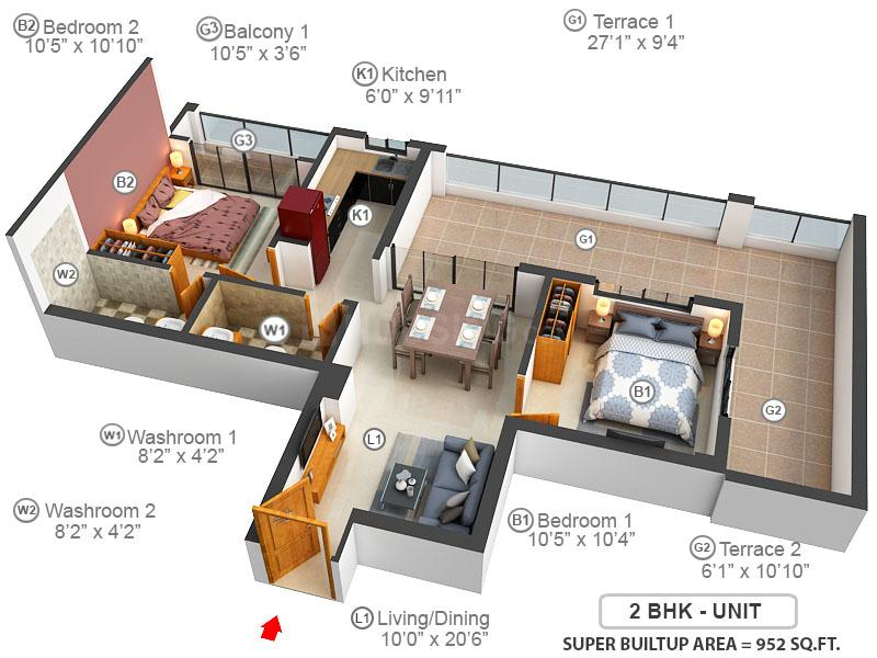 Ganguly 4 Sight Grand Castle Floor Plan: 2 BHK Unit with Built up area of 952 sq.ft 1