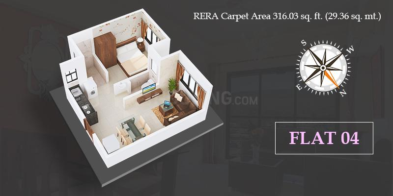 VKLAL VISHNU PHASE I Floor Plan: 1 BHK Unit with Built up area of 316 sq.ft 1