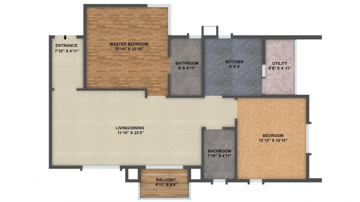 Floor Plan Image of 1210 - 3360 Sq.ft 2 BHK Apartment for buy in Golden Panorama
