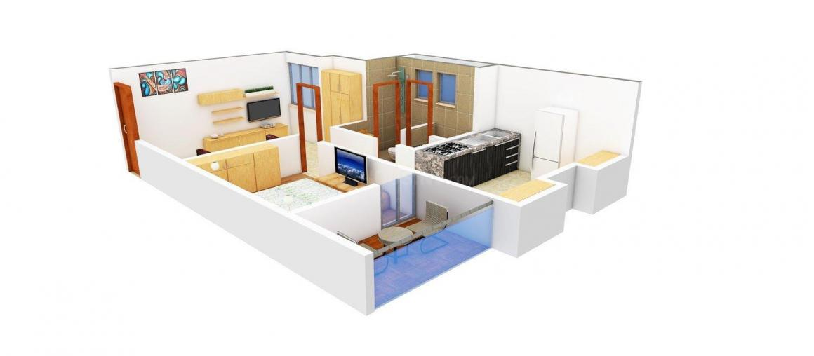 Siddhi Arched Floor Plan: 1 BHK Unit with Built up area of 620 sq.ft 1