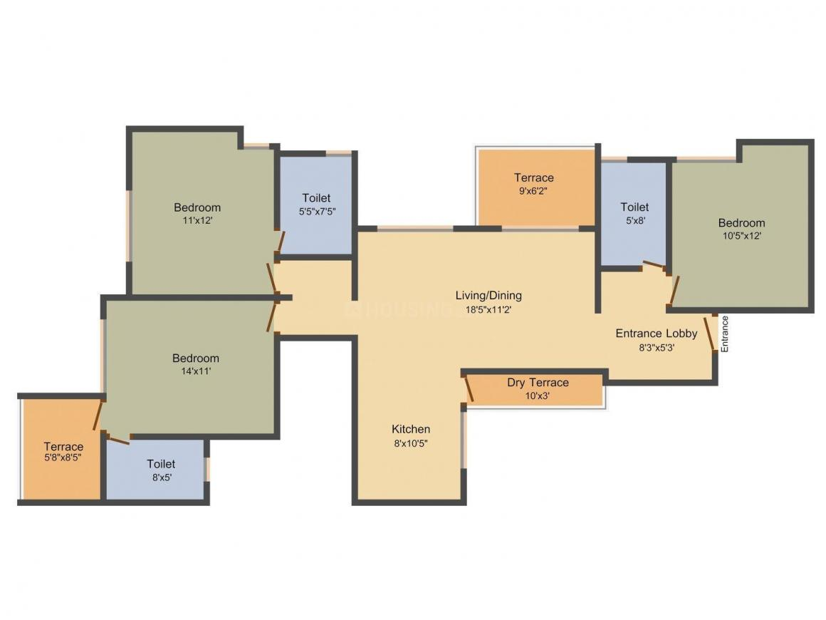 Sancheti Prachi Residency Floor Plan: 3 BHK Unit with Built up area of 1489 sq.ft 1