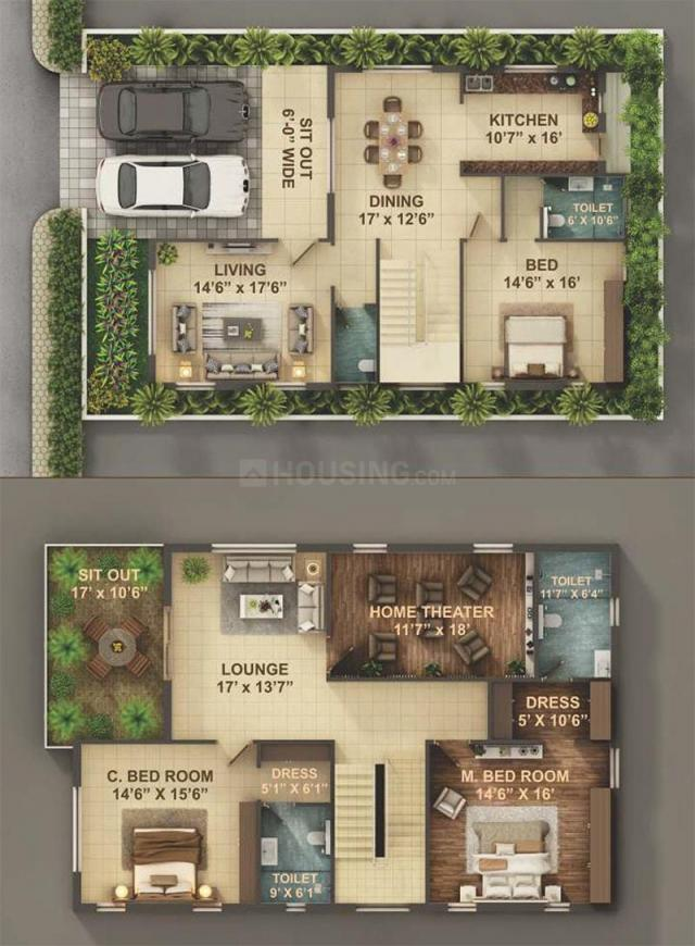 Rudhra Royal Village Floor Plan: 3 BHK Unit with Built up area of 2433 sq.ft 1