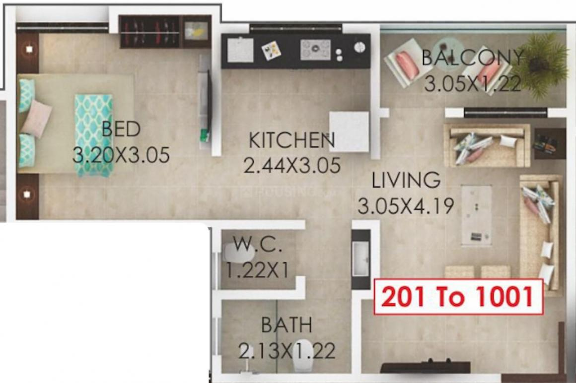 RS Kalpvruksh Floor Plan: 1 BHK Unit with Built up area of 428 sq.ft 1