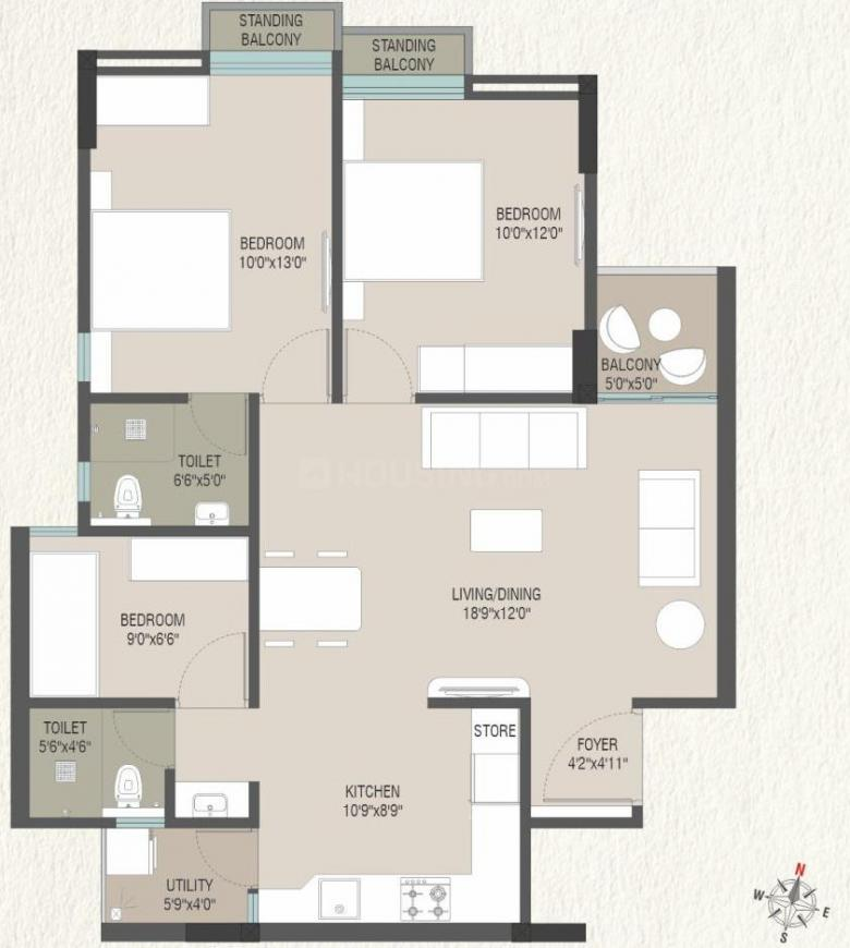 Everest Trinity Floor Plan: 3 BHK Unit with Built up area of 753 sq.ft 1