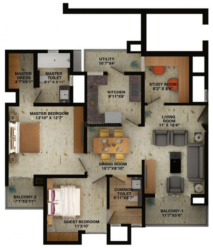 Wave Trucia Floor Plan: 2 BHK Unit with Built up area of 931 sq.ft 1