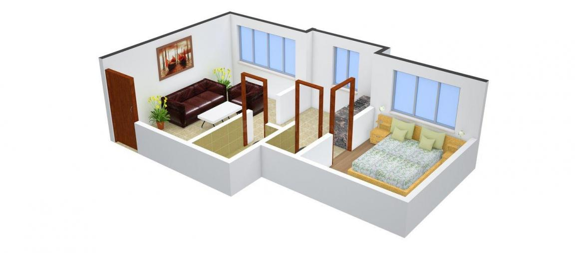 Floor Plan Image of 665.0 - 805.0 Sq.ft 1 BHK Apartment for buy in Shankeshwar Pearls