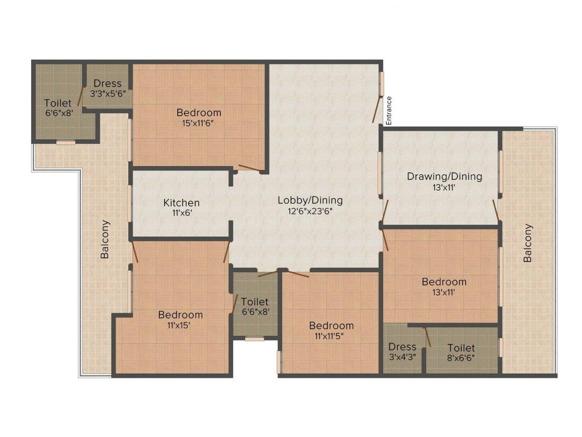 Floor Plan Image of 0 - 2750.0 Sq.ft 4 BHK Independent Floor for buy in Anupam Homes 3