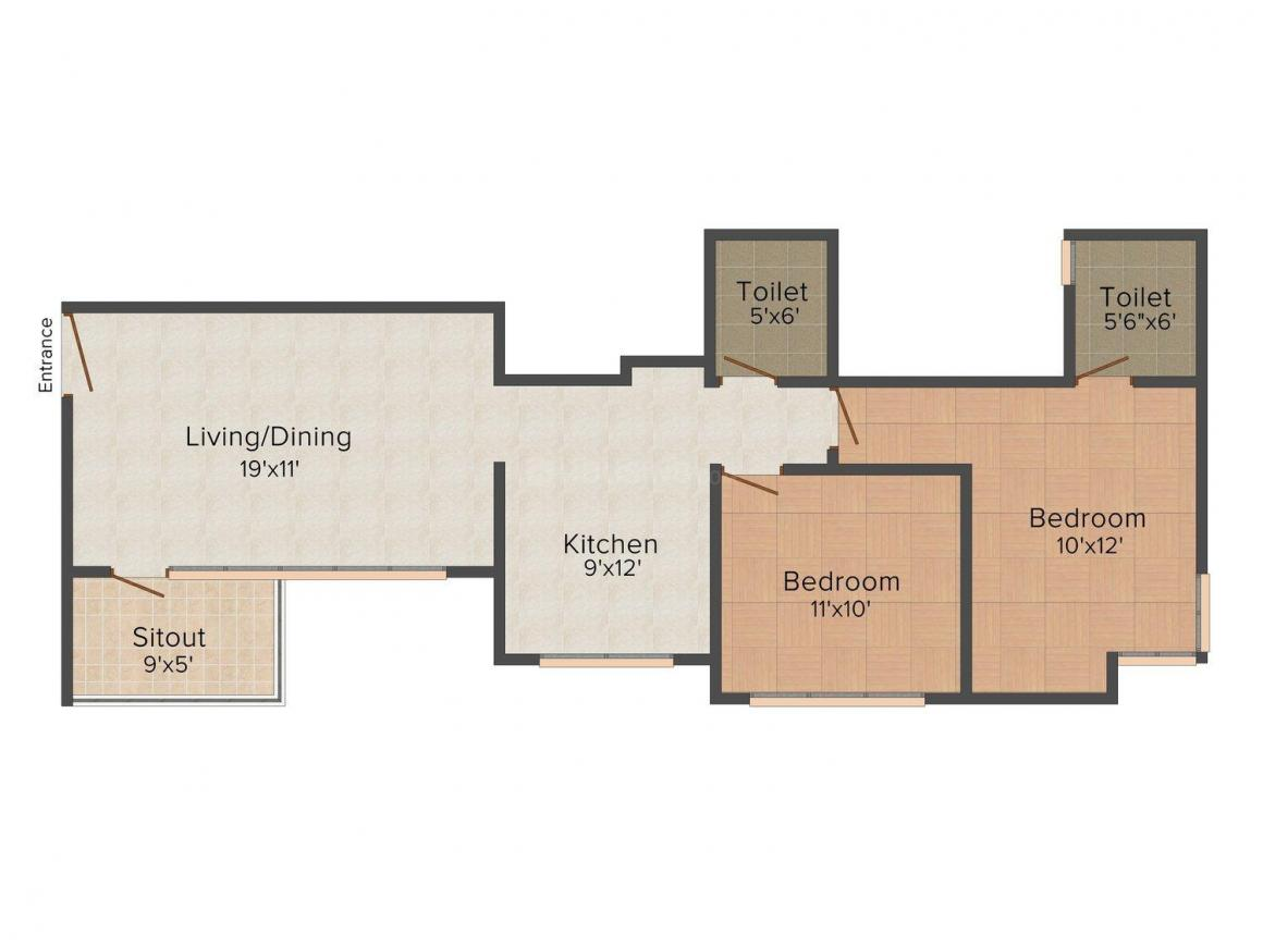 Floor Plan Image of 635 - 932 Sq.ft 1 BHK Apartment for buy in Knchan Essence