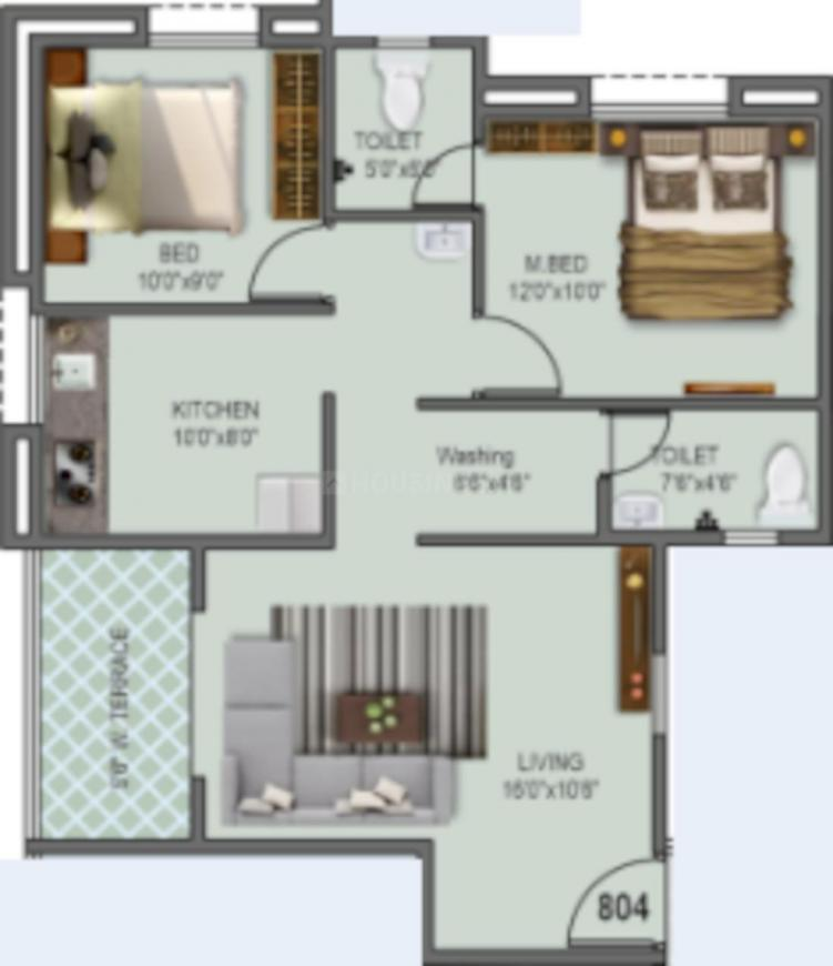 Sancheti Mount N Glory Plot A Phase II Floor Plan: 2 BHK Unit with Built up area of 693 sq.ft 1