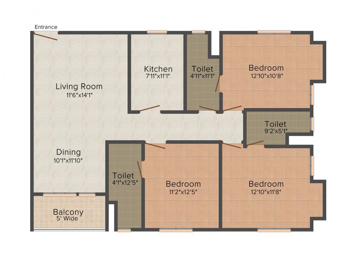 Avishi Trident Floor Plan: 3 BHK Unit with Built up area of 1649 sq.ft 1