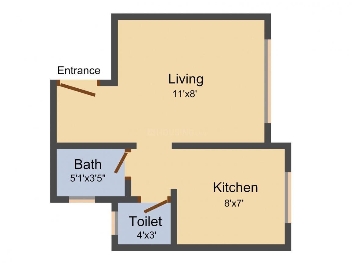 Floor Plan Image of 220.0 - 355.0 Sq.ft Studio Studio Apartment for buy in Om Heights