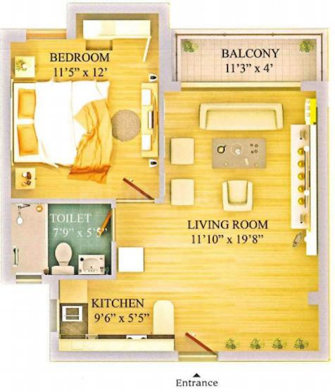 Eldeco The Studio Floor Plan: 1 BHK Unit with Built up area of 825 sq.ft 1