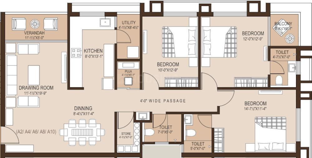 Sheth Moonvihar Flats Floor Plan: 3 BHK Unit with Built up area of 1144 sq.ft 1