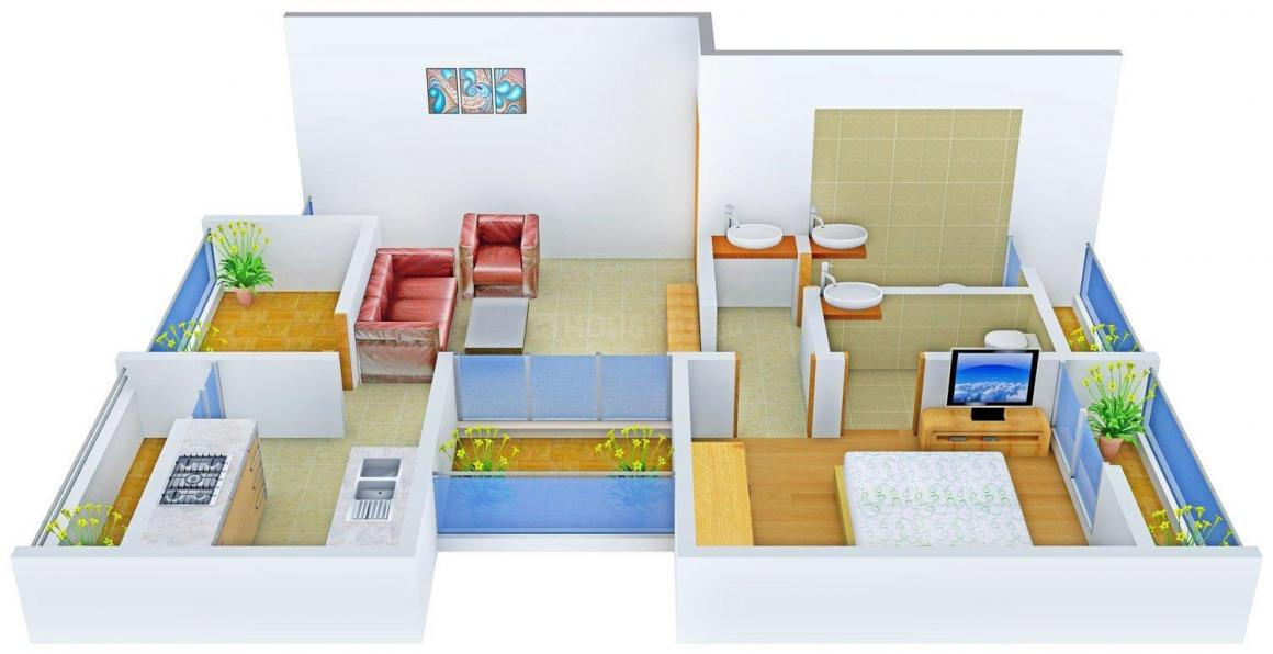 Floor Plan Image of 0 - 610.0 Sq.ft 1 BHK Apartment for buy in Shivanjali Bal Gopal Residency