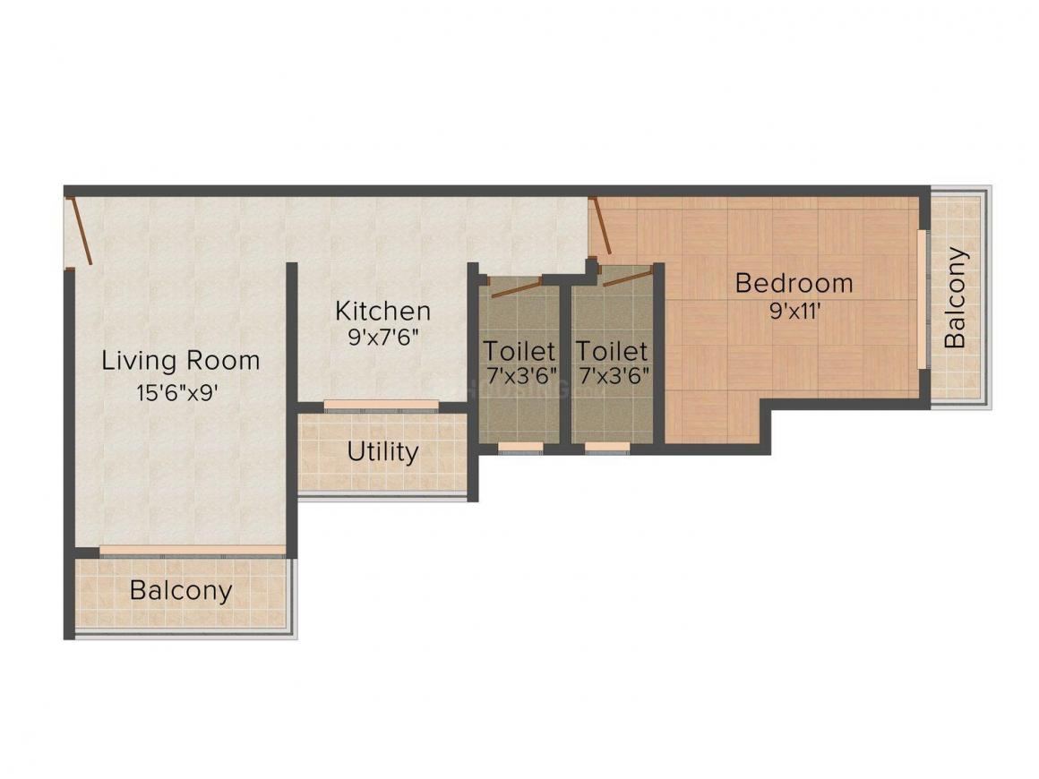 Floor Plan Image of 715.0 - 725.0 Sq.ft 1 BHK Apartment for buy in Ostwal Oasis