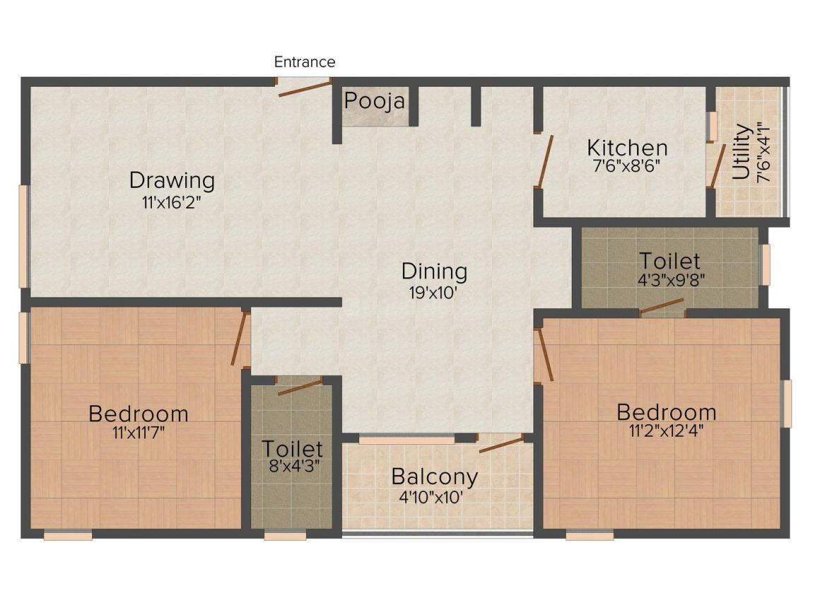 Floor Plan Image of 1240 - 1608 Sq.ft 2 BHK Apartment for buy in Manisha GR Residency