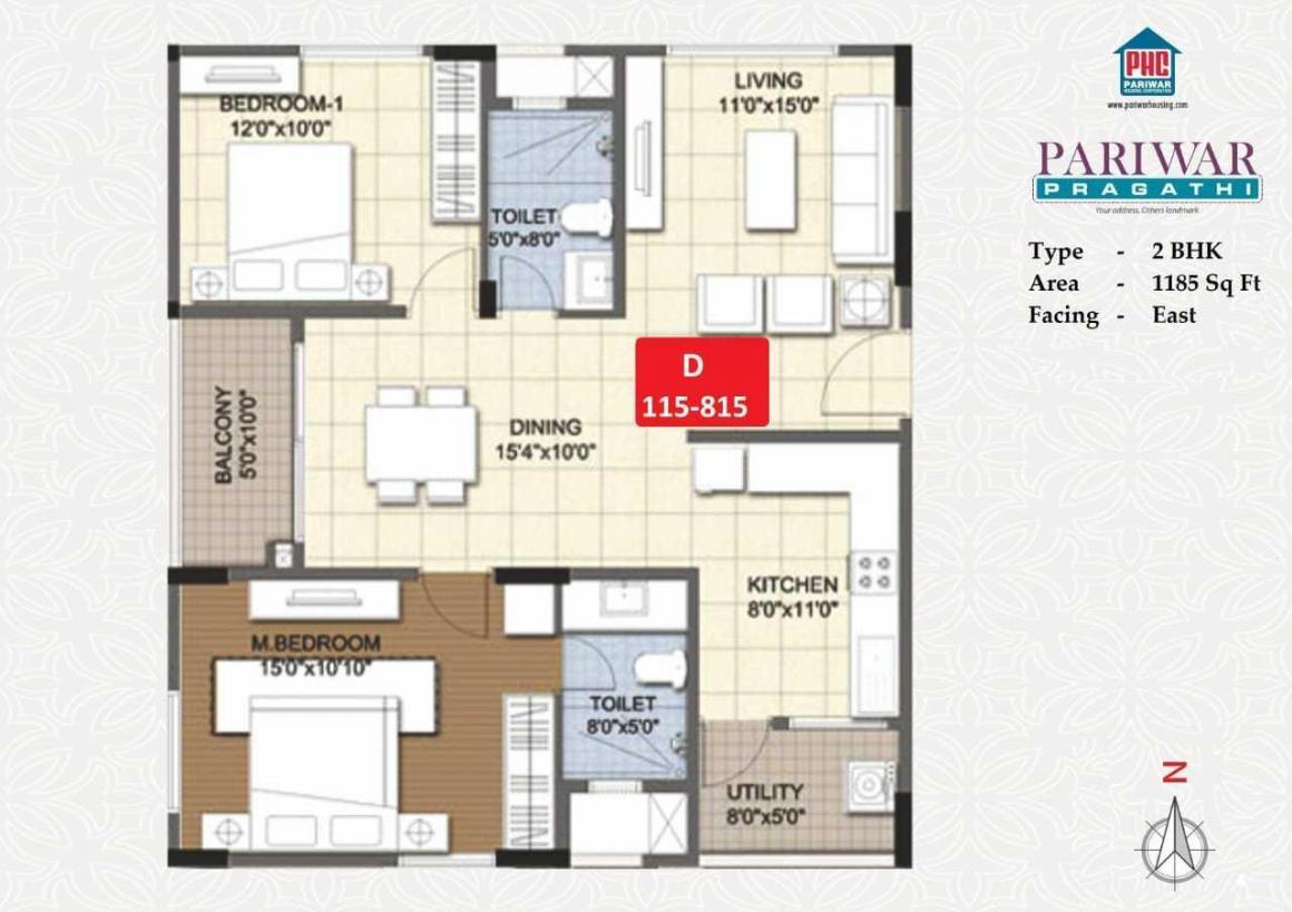 Pariwar Pragathi Floor Plan: 2 BHK Unit with Built up area of 1185 sq.ft 1