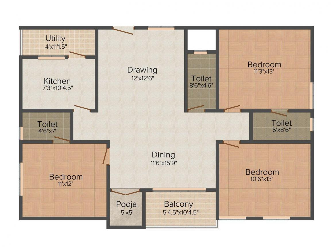 Swasudha Tree Storie Floor Plan: 3 BHK Unit with Built up area of 1575 sq.ft 1
