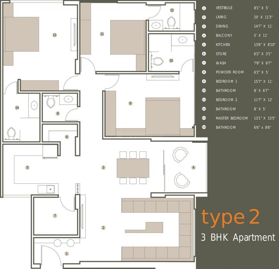 Olive Brick Home Floor Plan: 3 BHK Unit with Built up area of 2470 sq.ft 1
