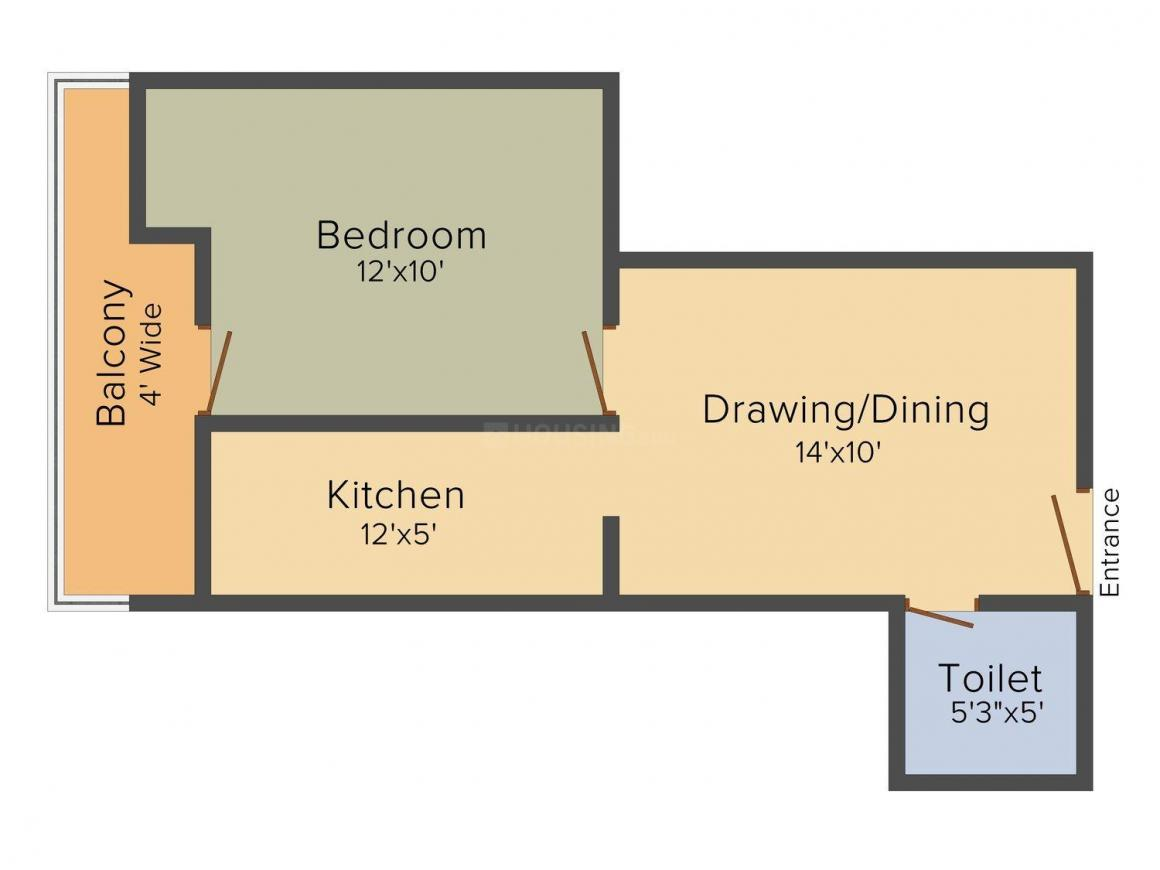 Nand Residency Floor Plan: 1 BHK Unit with Built up area of 680 sq.ft 1
