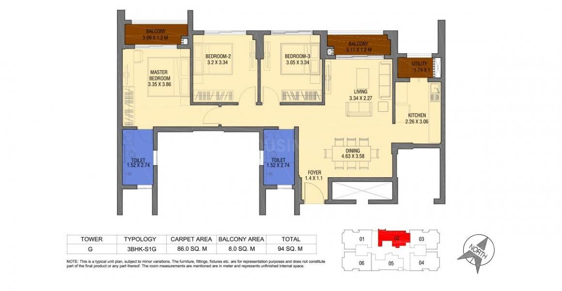 Tata Housing Avenida Floor Plan: 3 BHK Unit with Built up area of 1012 sq.ft 1