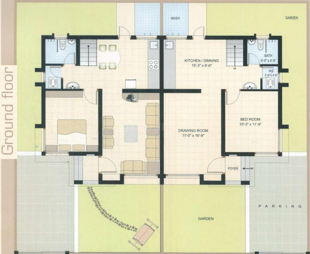 Kamlesh Nilamber Bungalows 3 Floor Plan: 3 BHK Unit with Built up area of 1575 sq.ft 1