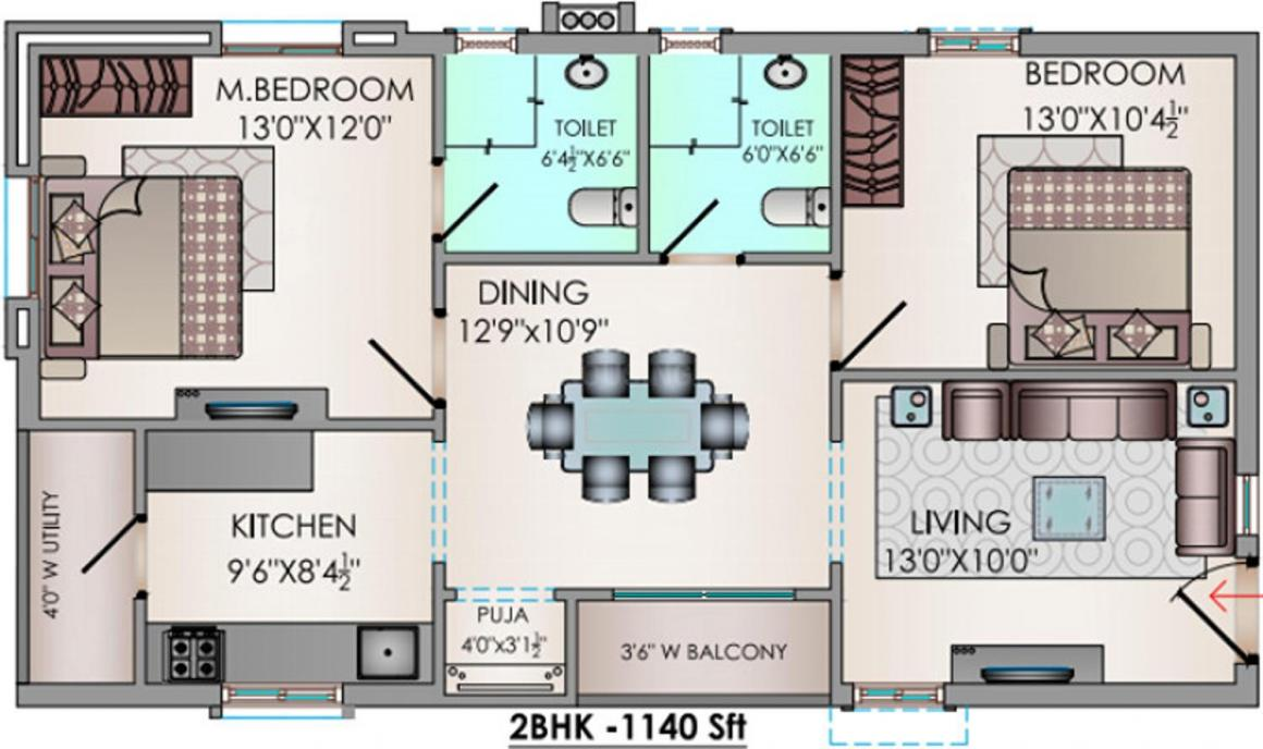 Riddhi Valentino Floor Plan: 2 BHK Unit with Built up area of 1140 sq.ft 1