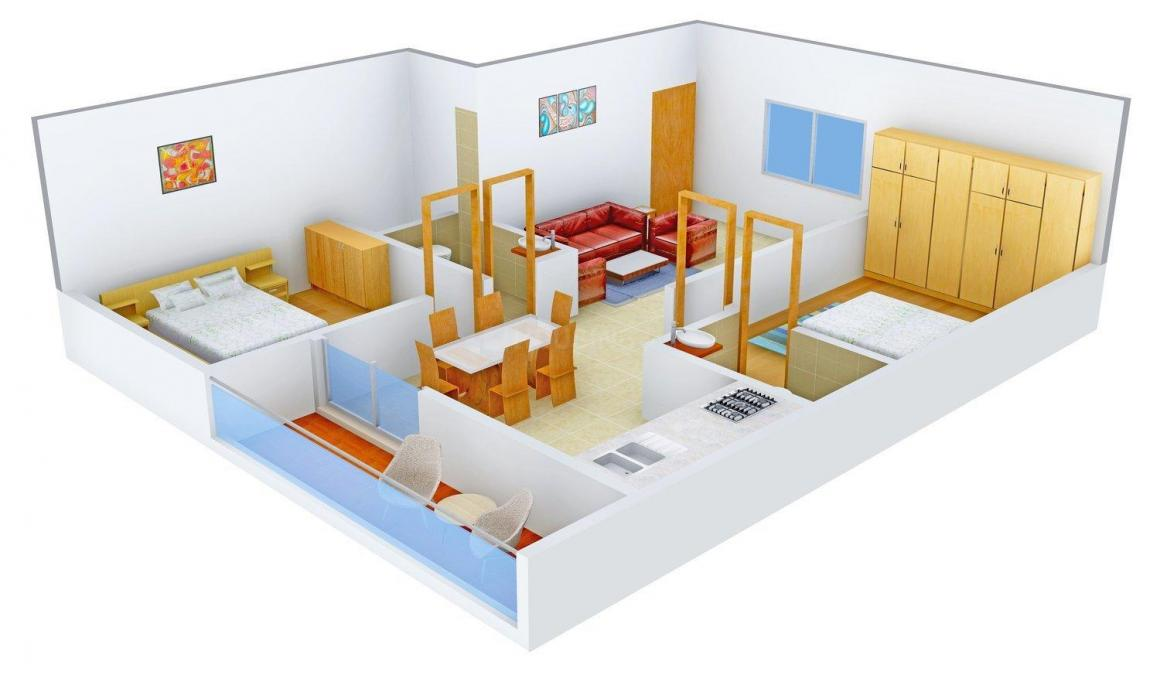 Floor Plan Image of 1080.0 - 1548.0 Sq.ft 2 BHK Apartment for buy in DSMAX SWATANTRA